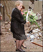US secretary for State Madeleine Albright lays a wreath