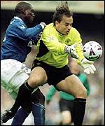 [ image: Mark Bosnich: Early nerves for the united goalkeeper]