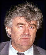 [ image: The then Bosnian Serb leader Radovan Karadzic faces war crimes charges, if arrested]