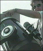 Scientist adjusting coeloscope
