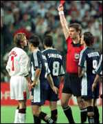 David Beckham sent off