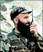 [ image: Chechen warlord Shamil Basayev is commanding the rebel forces]