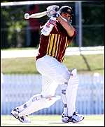 [ image: Test hopeful Matthew Hayden hits out in the nets on Sunday]