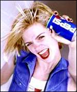 [ image: Early days: Zoe Ball advertises a soft drink wearing only body paint]