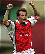 [ image: Premature celebration: Frederick Ljungberg puts Arsenal in front]