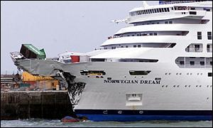 BBC News UK Liner Damaged In Channel Collision - Cruise ship damaged