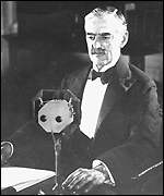 Chamberlain making a radio broadcast