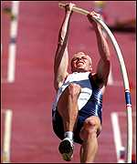 [ image: Dean Macey recovered from a broken pole vault]
