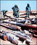 [ image: 122mm Iraqi rockets containing sarin, destroyed after the Gulf War]