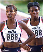 [ image: Britain's Joyce Maduaka and Christine Bloomfield reflect on their 4x100m efforts]