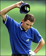 [ image: Sergio Garcia feels the frustration as his challenge falters]