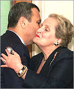 [ image: Mr Barak and Mrs Albright: No breakthroughs, but renewed optimism]