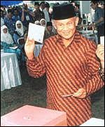 [ image: President Habibie: Called on Indonesians to accept vote with grace]