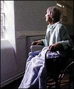 An elderly women in a wheelchair