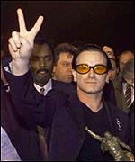 [ image: U2's Bono will headline NetAid's New York gig.]
