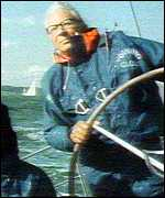 Edward Heath at the helm of a racing yacht