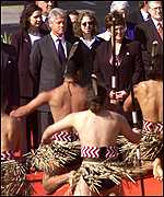 [ image: The Clintons arrive to a Maori welcome]