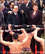 [ image: China's Jiang Zemin receives a Maori welcome]
