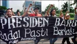 image: [ Indonesians protest against the rule of President Suharto ]