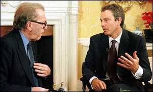 image: [ Tony Blair (right) talks to Sir David Frost ]