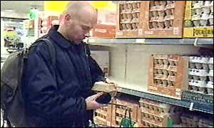 image: [ Shoppers have been puzzled by claims that some free-range eggs are from battery hens ]