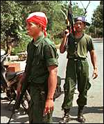 [ image: Together soldiers and militiamen manned checkpoints in East Timor]