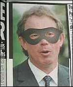 [ image: The Sun's depiction of Blair when it questioned his euro policy]