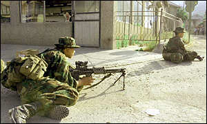 Gurkha soldiers on patrol inside Kosovo