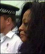 [ image: Diana Ross after her arrest for alleged assault]
