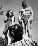 [ image: Johnny Weismuller, right, as Tarzan]