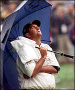 [ image: Steve Pate looks to heavens as the weather intervenes]