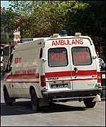 [ image: An ambulance rushes to Ulucanlar prison]