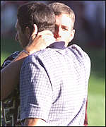 [ image: Justin Leonard embraces Jose Maria Olazabal at the controverisal finish]