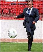 [ image: Working for the government - David Mellor heads the Football Taskforce]