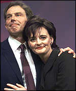 [ image: Tony and Cherie Blair after the prime minister's own speech to the Labour conference]