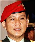 [ image: Former Kopassus chief  General Prabowo Subianto received training in the US]