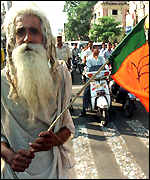 Hindu fundamentalist in demonstration