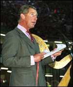 [ image: The Prince of Wales speaks to the 72,000 crowd]