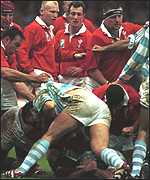 [ image: Brawl: Wales vs Argentina was an ill-tempered affair]