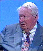 [ image: A stony-faced Sir Edward Heath watched the speech from the platform]