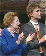 [ image: Lady Thatcher and Tory businessman Ivan Massow applaud the speech]
