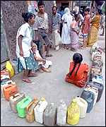 [ image: Waiting for kerosene in Calcutta: People want basic needs addressed]