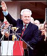 [ image: A rare appearance by Mr Milosevic]