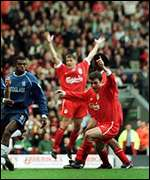 [ image: Right place, right time: David Thompson (right) scores Liverpool's winner]