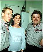 [ image: Mika Hakkinen, wife Erja and Norbert Haug celebrate the news]