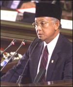 [ image: President Habibie: Unlikely to get Assembly support]