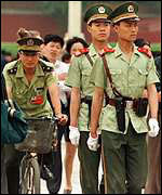 [ image: Heightened security in Tiananmen Square on the 10th anniversary of the massacre]