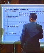 Each vote counted was marked on a board in front of parliament