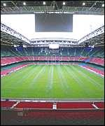 [ image: The Millennium Stadium: Sliding roof not used]
