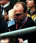 [ image: Clive Woodward: Visibly upset by England's defeat]